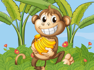 A happy monkey with bananas