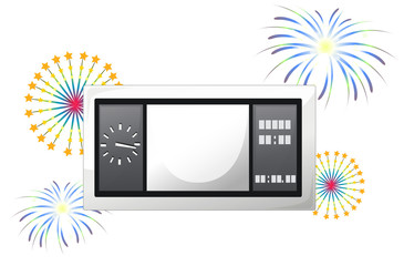 A scoreboard with fireworks
