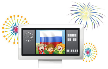 The flag of the Russian Federation and the three happy kids