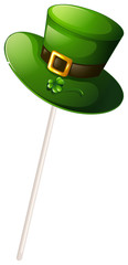 A green hat with a stick