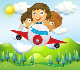 Door stickers Rainbow An airplane with three playful kids