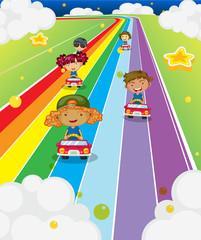 Five kids racing