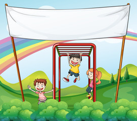 Door stickers Rainbow Three kids playing near the empty banner
