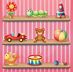 Wooden shelves with toys