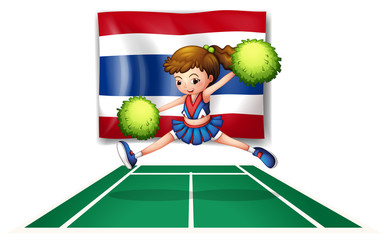 The Thailand flag with a cheerleader
