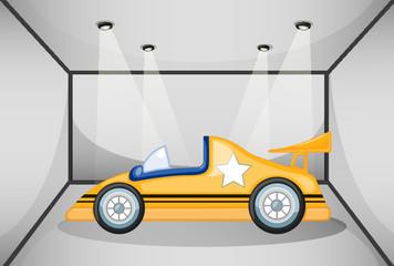 A yellow sports car inside the garage