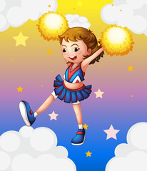 An energetic cheerleader with yellow pompoms