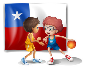 The basketball players in front of the Chile flag