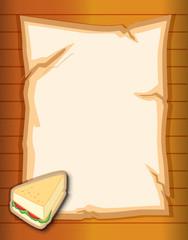 An empty paper with a triangular sandwich