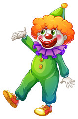 A clown wearing a green costume