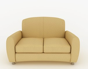 Modern beige leather sofa on the white