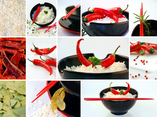 Reisgericht mit Peperoni