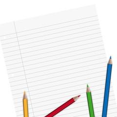 Blatt Papier liniert mit Stiften