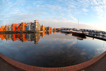 Wall Mural - fisheye view on Reitdiephaven in Groningen
