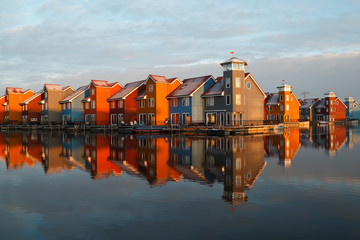 Wall Mural - colorful buildings at Reitdiephaven in morning sunlight