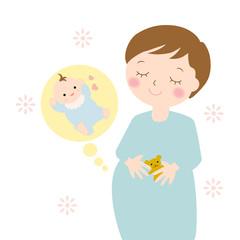 妊婦さんと赤ちゃん A pregnant woman and a baby