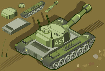 Aluminium Prints Military isometric tank in rear view