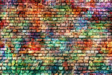 Foto auf Leinwand Graffiti grunge colorful wall, empty room