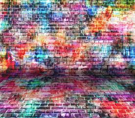 In de dag Graffiti grunge colorful wall, empty room
