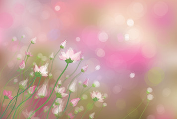 Vector of  flowers on spring bokeh background.