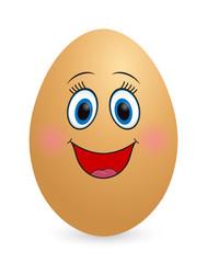 Happy girl egg on white background. Emotion, Face