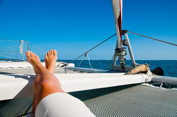 Relaxing on a Catamaran