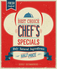 Wall Mural - Vintage Chef`s specials Poster. Vector illustration.