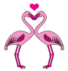 Two pink heart-shaped flamingos in love