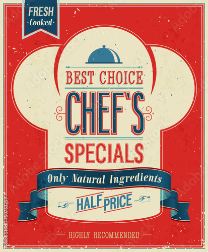 Wall mural Vintage Chef`s specials Poster. Vector illustration.