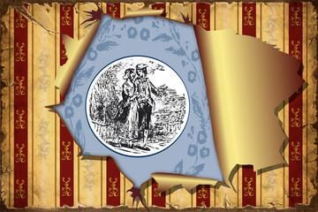 Fond de hotte en verre imprimé Affiche vintage 3D Aufgerissene Tapete - Blaues Emblem