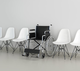 Waiting area in medical clinic with chairs and a wheelchair