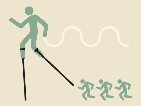 innovative leadership  - man on stilts