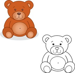 Coloring book. Bear toy vector illustration.