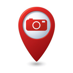 Map pointer with camera icon. Vector illustration