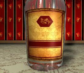 3D Retroflasche - Rotgold