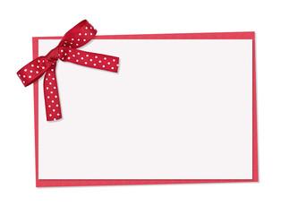 Red and white polka dot card, ribbon and bow