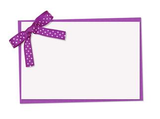 lilac and white polka dot card, ribbon and bow