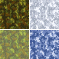 Seamless stylized camouflage patterns with hexagons.