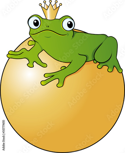 """""""froschkönig sitzt auf goldener kugel"""" stockfotos und"""