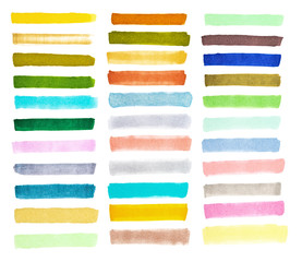 set colorful watercolor brush strokes on the white