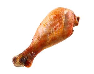 Roasted chicken leg isolated on white