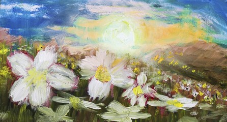 painting of sunset over white flowers field