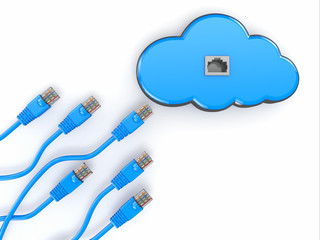 Cloud computing concept.  Rj-45 plugs on white background.