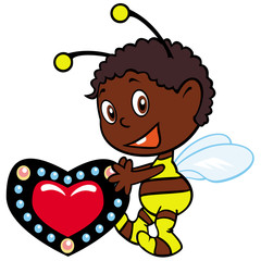 little bee  with heart
