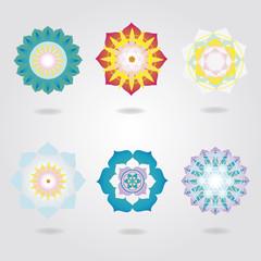 Mandalas icons vector set