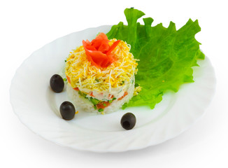 rice salad olives food dish isolated on a white background