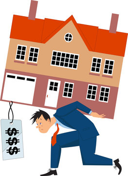 Depressed man carrying a house with a huge mortgage