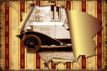 Fond de hotte en verre imprimé Affiche vintage 3D Aufgerissene Tapete - Altes Auto