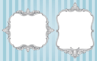 Ornate vintage frames on blue background