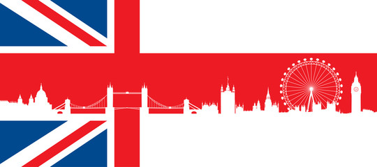 British flag  with very detailed  silhouette London skyline